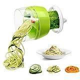 Fun Life Mini-Gemüseschneider, Spiralschneider, mit Handdrehung, gute Griffe, 3 wechselbare Klingen für variables Schnittmuster