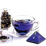 BLUE TEA - Blauer Tee Indischer Chai Masala, 12 handgefertigte Pyramidenteebeutel - 24 Tassen   Kräutermischung aus Schmetterlingserbsenblüte, Ingwer, Zimt, Kardamom, Nelke   Für Geschenk  