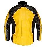 LP-FACON Herren Berühmtes Gaming-Kostüm Cole McGrath gelbe Motorradjacke aus echtem Leder Gr. XX-Small, Schwarz/Gelb