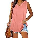 XWLY Bluse Damen Einfachheit Mode Sommer V Ausschnitt Einfarbig Damen Camisole Großzügig Persönlichkeit Saum Ärmellos Design Alltag Lässige Atmungsaktiv All-Match Damen Tops B-Pink S