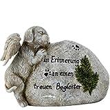 Trauer-Shop Hunde Gedenkstein mit Figur und Inschrift Begleiter, Tiergrab. 21