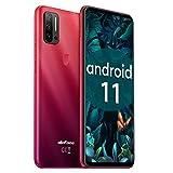 Ulefone Note 11P 4G Handys - Android 11 Smartphone ohne Vertrag Quad-Rückfahrkameras mit 2MP Marco-Objektiv und 8MP Weitwinkelobjektiv 8+128GB 3-in-1-Kartensteckplatz 6,55-Zoll-Bildschirm (Rot)