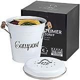 Komposteimer mit Deckel Küche 5L inkl. 2 Ersatzfilter - Biomülleimer Küche mit herausnehmbarem Inneneimer - Bio Mülleimer inkl. Kohlefilter - Bioabfallbehälter Vintage Mü