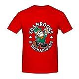 T-Shirt mit Kleeblatt-Motiv, St. Paddys für Erwachsene, kurzärmelig, Graffiti-Druck, leicht, Rundhalsausschnitt Gr. 56, rot