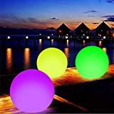 Happymore Schwimmende Kugelleuchte für Schwimmbad, IP68, wasserdicht, LED-Nachtlicht mit Farbwechsel, 40 cm, mit Fernbedienung