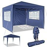 Pavillon 3x3m/3x6m Wasserdicht Zelt Partyzelt Faltpavillon Gartenzelt für Garten Markt Camping Hochzeiten Festival mit 4 Seitenteilen UV-Schutz 50+ (Blau, 3x3m)
