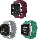 Chainfo Unisex Silikon Uhrenarmbänder kompatibel mit Fitbit Versa 2 / Versa 2 SE/Versa Lite/Versa smartwatch, Gebürstete Edelstahl Schwarz Schnalle (3-Pack G)