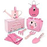 Hortem Metall Kindergarten-Set, 7 PCS Kindergarten-Set mit Handwerkzeugen, Gartentasche, Kindergartenhandschuhen, Kinderschürze und Gießkanne, Gartengeschenken für Kinder Kleinkinder (Flamingo Pink)