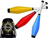 Juggle Dream TRAINER Jonglierkeulen 3er-Set (Blau/Rot/Gelb) Jonglier Keulen Training Set + Flames N Games Reisetasche! Große Jonglierkeule Set für Kinder & Erwachsene!
