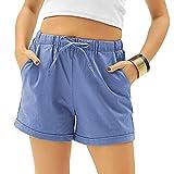 Xikaga Damen-Sommer-Shorts, leger, mit Kordelzug, elastischer Taille, Baumwolle, Radfahren, Arbeit, Cargo-Shorts mit Taschen, blau, L