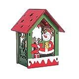 BESPORTBLE LED Holz Weihnachtshaus mit Beleuchtung DIY Dekoleuchte Weihnachten Flammenlose Kerze Desktop Nachttischlampe Gekleideter Schneemann Weihnachtsdeko Party Weihnachtsschmuck