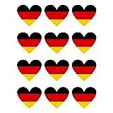 12 Stück Aufkleber Deutschland Herz | wetterfest & UV Schutz | Set Germany