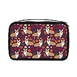 Transparente Kulturbeutel für Damen, Reisetasche, Kosmetiktasche mit Haken zum Aufhängen für Toilettenartikel, Zubehör (Autumns Corgis Hunderasse)