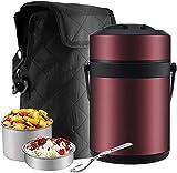 Edelstahl Thermobehälter für Essen, Speisegefäß Warmhaltebox, Essenbehälter Transportbehälter Thermo-Speisebehälter Lunch Becher,