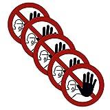 5 Stück XXL Zutritt verboten Aufkleber Ø 21cm Sticker kein Durchgang für unbefugte Personen verboten Verbotszeichen mit UV Schutz für Außen-und Innenbereich von STROBO