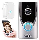 YQQQQ Drahtlose WiFi Video Türklingel, 1080P Visual Intercom PIR Bewegungsmelder IR Nachtsicht Home Security Kamera (Color : Doorbell+Chime)