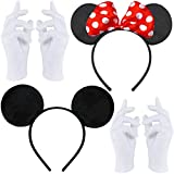 Doppelpack mit Maus Haarreifen | Maus Ohren mit roter Schleife und weißen Punkten + Maus Ohren in schwarz + 2 Paar weiße Handschuhe für Erw