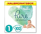 Pampers Größe 1 Pure Protection Baby Windeln, 102 Stück, HALBMONATSBOX, Mit Premium-Baumwolle Und Pflanzenbasierten Materialien (2-5 kg)
