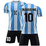 Diego Maradoan #10 Argentina Home Soccer Jersey Commemorative Football Jersey Set 1986 Argentina World Cup Football Commemorative T Shirt - The Left Hand of God Forever, (1986 Maradona, S)