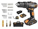 WORX 20V Akku-Schlagbohrschrauber WX371.7, 2,0Ah 2Akkus, PowerShare, 55 Tlg. Zubehörset (Handwerkzeuge und Bohrschrauber), Schlagbohrer 2 Gänge, Koffer, 18+1+1 Drehmomentstufen