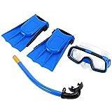 1Set Kinder Schnorchel Set Tauchen Set Schwimmbrille Atemschlauch mit Flippers für Jungen-Mädchen-Blau