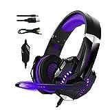 Aumaya G9000pro Gaming-Headset mit geräuschisolierender 120-Grad-verstellbarer Mikrofon-40-mm-Treibereinheit Breite Kompatibilität Lila
