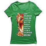 lepni.me Frauen T-Shirt Niedliche Yorkshire Terrier Yorkie Welpe Hund Mama Outfit (M Grün Mehrfarben)