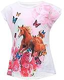 Einhorn Pegasus Kinder Mädchen 3D Druck Lang T-Shirt Bluse Kurzarm Tunika (128-134, Pferd)