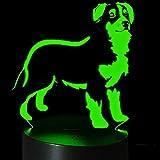 Jinson well 3D Hund Lampe optische Illusion Nachtlicht, 7 Farbwechsel Touch Switch Tisch Schreibtisch Dekoration Lampen perfekte mit Acryl Flat ABS Base USB Kabel Spielzeug