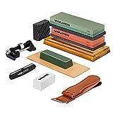 EPRESS Messerschärf-Set, 10 in einer Kombi, Mehrzweck-Messerschärfstein, 400/1000 3000/8000 Schleifstein, Messer, Meißel, Äxte, Schere, rutschfeste Bambus-Basis, inkl. Rasier-Streichriemen
