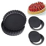 JSFC Tarteform Obstkuchenform und Backform Pack Non Sticks Quiche Tart Pfanne mit abnehmbaren Basis Tortenform 2 Stuck,16CM