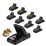 MOHOO Mausefalle, Mäusefalle 8 Stück Wiederverwendbare Rattenfalle,Effektive Mausefalle Schlagfalle,die sofort töten Mausfänger sicher für Indoor/Outdoor Familie und Garten,einfach zu setzen, schwarz