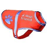 4LegsFriend Hunde Sicherheitsweste (5 Größen, S) - Hohe Sichtbarkeit für Outdoor Aktivitäten Tag und Nacht, Hält den Hund Sichtbar, Sicher vor Autos & Jagtunfällen | Blaze Orange