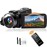 Videokamera Camcorder Full HD 2.7K 42MP Camcorder 18X Digitalzoom mit LED Fülllicht Digitalkamera 3,0 Zoll IPS-BildschirmVlogging Kamera für YouTube, mit 2 Batterien