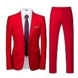 Yowablo Anzug Herren Slim Fit 2 Teilig Anzüge Herrenanzug Sakko für Hochzeit Business (6XL,1rot)