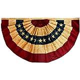 ANLEY Vintage Style Tee gebeizt USA Plissee Fan Flagge 3x6 Fuß Nylon - Gestickte Sterne und genähte Streifen - 4 Reihen von Lock Stitching - Antiquierte USA Plissee Fan Banner Flaggen mit Messing Ösen