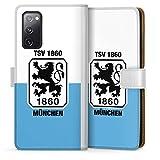 DeinDesign Klapphülle kompatibel mit Samsung Galaxy S20 FE Handyhülle aus Leder weiß Flip Case TSV 1860 München Offizielles Lizenzprodukt Wapp