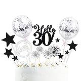 Happyhours 30 Jahre Tortendeko Happy Birthday Kuchen Deko Set, Silber Konfetti Ballon, Glitter Papierfächer und Stern Form Cake Torte Topper, Glitter Geburtstag Kuchen Topper, Glitzer Cupcake Topper