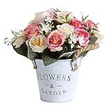 æ— Künstliche Rosen aus Metall, künstlicher Blumenstrauß mit Vasen-Arrangements, Bonsai, Bonsai-Blumen, Vase für Zuhause, Party, Büro, Hotel-Dek