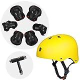 Bequem zu bedienender Skateboardhelm Sporthelm BMX-Helm mit Knieschützern, Ellbogenschützern, Handgelenkschützern, Handgelenkschützern und T-Werkzeugschlüsseln für Schlittschuhe und Fahrräder (Gelb,L)
