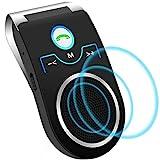 Aigoss Auto Kfz Freisprecheinrichtung Bluetooth Visier Car Kit, Unterstützt Siri/Google Assistent/Musik/Freisprechanrufe, 2 Telefone Gleichzeitig Schwarz