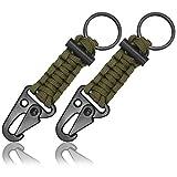 Paracord Schlüssel-Anhänger mit Feuer-Stahl, 2 Stück im Set, Outdoor Survival Tool, Farbe ArmyGreen