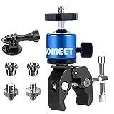 Homeet Super Klemme Fahrrad Halterungen für Actionkamera Lenker Halterung Metall Klammer mit Mini Kamera Kugelkopf Blau