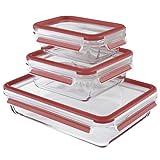 Emsa 514168 Clip & Close Glas Frischhaltedosen | 3er Set | 0,5+ 0,9+ 2,0 L | Rechteckig | 100% Dicht | Backofengeeignet | Mit Frische-Dichtung, Rot