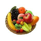 12 Arten von künstlichen Früchten Pack, 12 verschiedene Früchte in einem Set, gefälschte Früchte für Wohnkultur, Simulation Obst Set, Weihnachtsdekoration, Obst für Fotoshooting Insgesamt 16 Stück