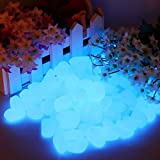 Leuchtsteine, 200 Leuchtende Kieselsteine Fluoreszierende Steine, Leuchtsteine Garten Blau Dekorative Steine für Gehwege Outdoor Decor Aquarium Pfad Rasen Garten(Blau)