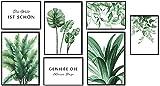 KAIRNE 7er Set Premium Poster,Moderne Poster Set Wohnzimmer,Grüne Pflanzen Bild,Inspirierende Zitate Wandbild,Aquarell Grüne Blätt Monstera Bilder für Schlafzimmer Deko,3xDIN A3+4xDIN A4,Ohne Rahmen