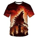 Sommer Godzilla 3D-Druck Herren T-Shirt Mode Casual O-Ansatz Street Herren Full-Size-Shirt Für Herren-Slx415_Xs Muster Vorne = Muster Hinten