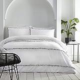 Appletree Boutique Lyra Bettwäsche-Set mit Pompoms, 100 % Baumwolle, für Super-King-Size-Betten, Weiß mit Schiefer-Poms