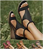 Frauen Keilsandalen Damen Lässige Einfarbige Gladiator Schuh Orthopädische Sandalen mit Offenem Zeh Faux Leder Plattform Flip Flops Sommer Schuhe Strand Sandalen,Plus Size 34-43Black-EUR 43/USA 12